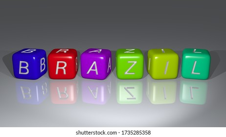BRAZIL combined by dice letters and color crossing for the related meanings of the concept. 3D illustration