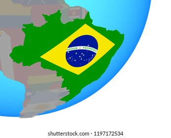 Brazil with embedded national flag on blue political globe. 3D illustration.
