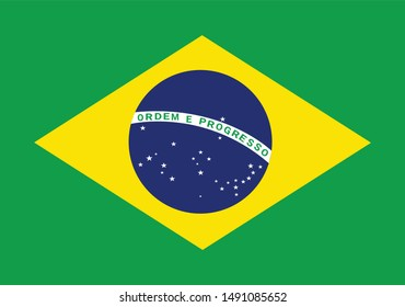 Brazil flag illustration,textured background, Symbols of Brazil