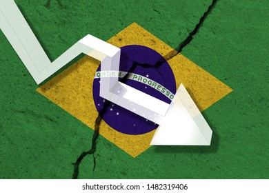 Brazil Flag on the cracked wall with arrow falling down. Concept of decrease in the country.