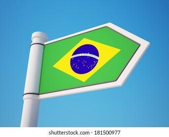 Brazil Flag Sign isolated on sky