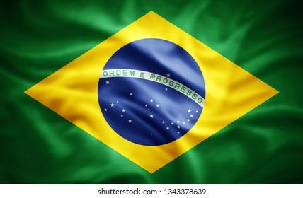 Brazil flag of silk -3D illustration