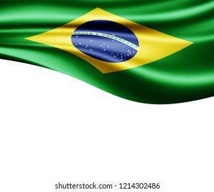 Brazil flag of silk and white background-3D illustration