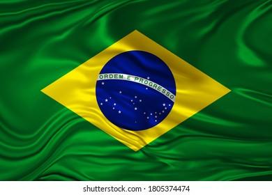 Brazil flag of silk-3D illustration