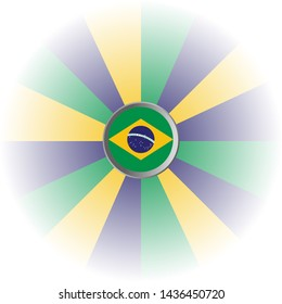 brazil flag and yellow blue green colors isolated over white