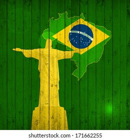 brazil flag,map,jesus and wood background