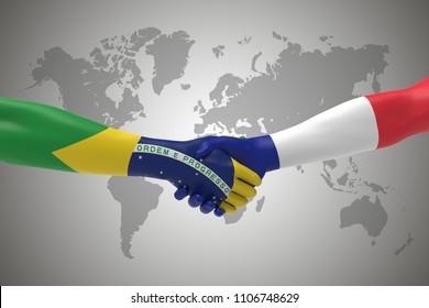 Brazil and France Handshake Bilateral talks 3D render
