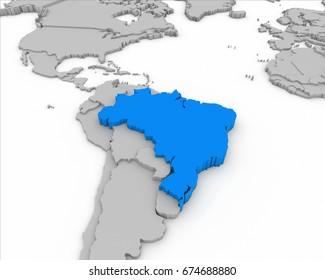 brazil map 3D illustration