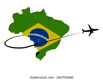 Brazil map flag with plane silhouette and swoosh 3d illustration