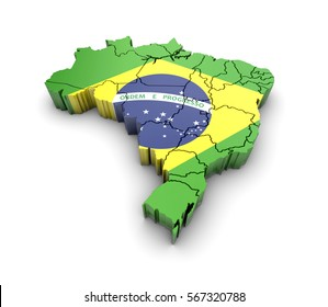 Brazil map with flag and shadow on white background. 3D rendering.