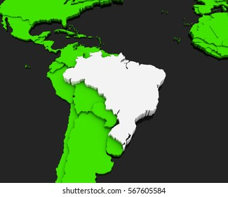 brazil map green background 3D illustration