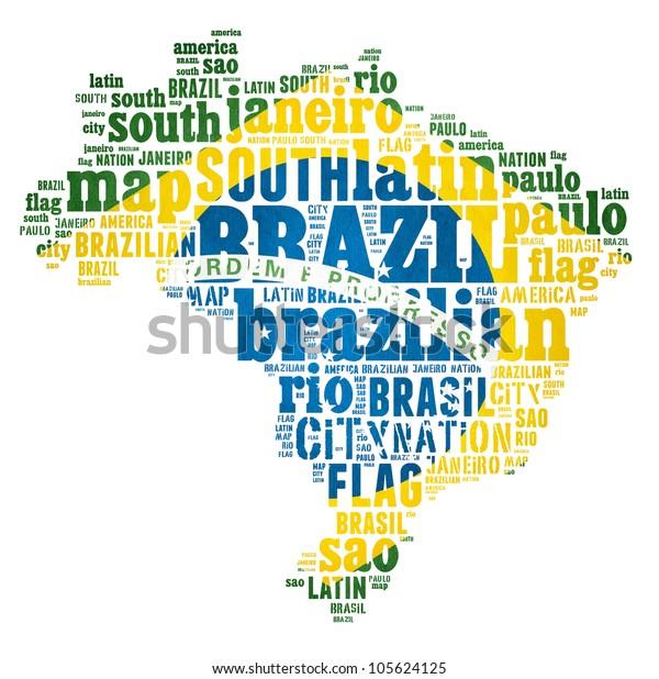 Brazil Map Words Cloud Major Cities Stockillustration 105624125