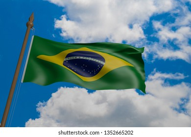 Brazil national flag blowing in the wind. 3d rendering, flag waving in the blue sky.