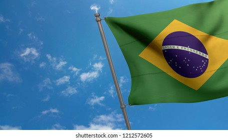 Brazil national flag on blue sky background.