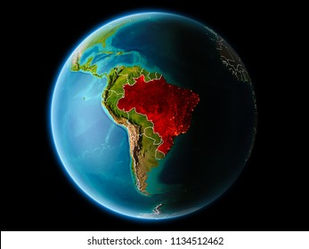 Brazil from orbit of planet Earth at night with highly detailed surface textures with visible border lines and city lights. 3D illustration. Elements of this image furnished by NASA.