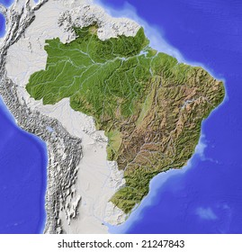 Brazil. Shaded relief map with major urban areas. Surrounding territory greyed out. Colored according to vegetation. Includes clip path for the state area. Data source: NASA