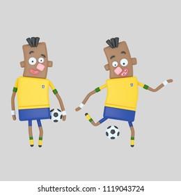 Brazil soccer player . 3d illustration
