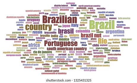 Brazil Tag Cloud Aligned On White Background