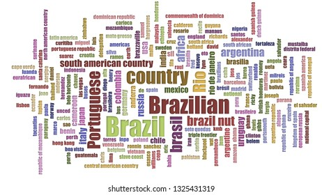 Brazil Tag Cloud Jumbled Isolated On White