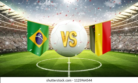 Brazil vs Belgium. Soccer concept. White soccer ball with the flag in the stadium, 2018. 3d render