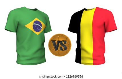 a037cb4cf brazil vs belgium . Soccer concept. isolated on White background with the  flag t-