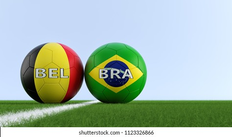 Brazil vs. Belgium Soccer Match - Soccer balls in Belgium and Brazil national colors on a soccer field. Copy space on the right side - 3D Rendering