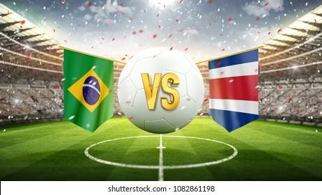 20329497fb4 Brazil vs Costa-Rica. Soccer concept. White soccer ball with the flag in