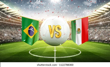 Brazil vs Mexico. Soccer concept. White soccer ball with the flag in the stadium, 2018. 3d render