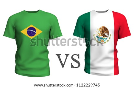 4dd2cc577 brazil vs mexico . Soccer concept. isolated on White background with the flag  t-