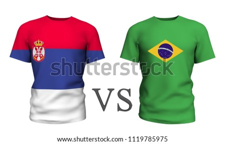 4ee5b46a9 brazil vs serbia. Soccer concept. isolated on White background with the flag  t-