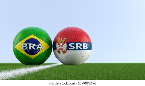 Brazil vs. Serbia Soccer Match - Soccer balls in Serbian and Brazil national colors on a soccer field. Copy space on the right side - 3D Rendering