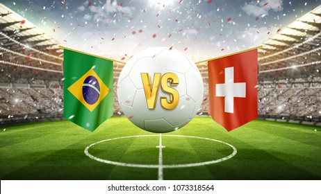 Brazil vs Switzerland. Soccer concept. White soccer ball with the flag in the stadium, 2018. 3d render
