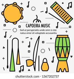 Brazilian Capoeira Music Instruments in color. Ethnic musical instruments for capoeira. Pandeiro and agogo, reco-reco and berimbau, also atadaque.  Illustration.
