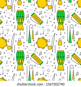 Brazilian Capoeira Music Instruments color seamless pattern. Ethnic musical instruments for capoeira. Pandeiro and agogo, reco-reco and berimbau, also atadaque.  Illustration.
