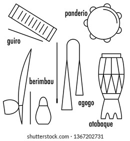 Brazilian Capoeira Music Instruments set with names. Ethnic musical instruments for capoeira. Pandeiro and agogo, reco-reco and berimbau, also atadaque.  Illustration.
