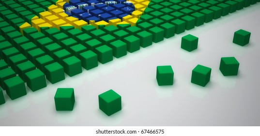 Brazilian flag placed on an equal cubic