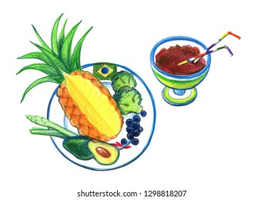 Brazilian food. Pineapple, avocado, broccoli in a plate and chocolate in a cup. Drawing with colored pencils