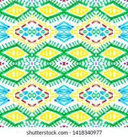 Brazilian pattern. African seamless geometric print. Vintage patchwork. Bohemian motif. Mexican background. White, blue, red, green, yellow brazilian pattern.