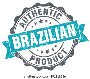 Brazilian product blue grunge retro style isolated seal