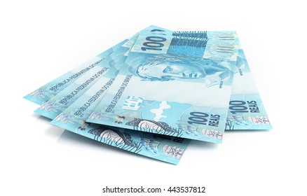 Brazilian real banknotes. 3d rendering.
