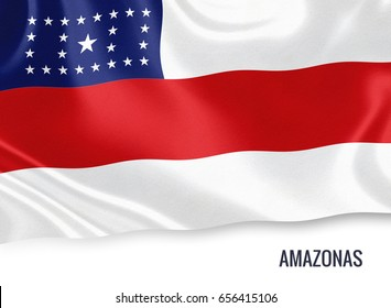 Brazilian state Amazonas flag waving on an isolated white background. State name is included below the flag. 3D rendering.