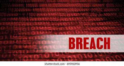 Breach Security Warning on Red Binary Technology Background