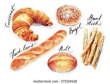 Watercolour Bread Images Stock Photos Vectors Shutterstock