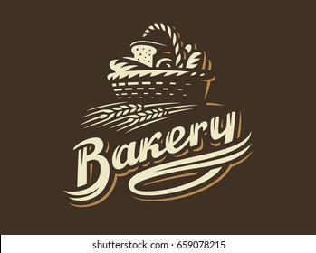 Bread basket logo -  illustration. Bakery emblem design on dark background