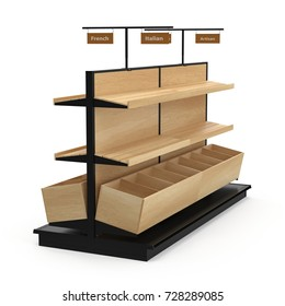 Bread display racks for stores on white. 3D illustration