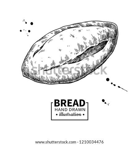 Bread Drawing Bakery Product Sketch Vintage Stockillustration