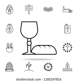 bread and grail icon. Easter icons universal set for web and mobile