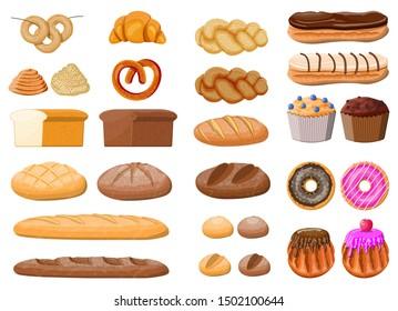 Bread icons set. Whole grain, wheat rye bread, toast, pretzel ciabatta, croissant, bagel, french baguette cinnamon bun. Sweet desserts. Pastry bakery. Eclair donut muffin. illustration flat