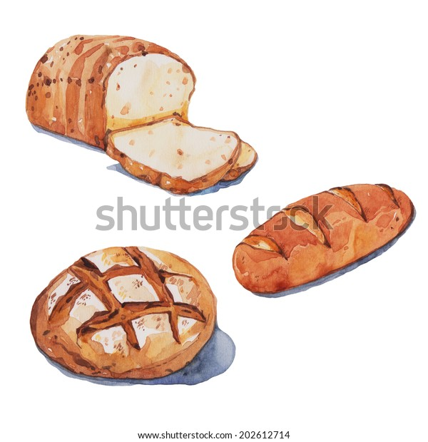 Bread Set 1 Watercolor Painting Stock Illustration 202612714