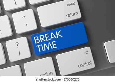 Break Time Concept Modern Laptop Keyboard with Break Time on Blue Enter Key Background, Selected Focus. 3D.